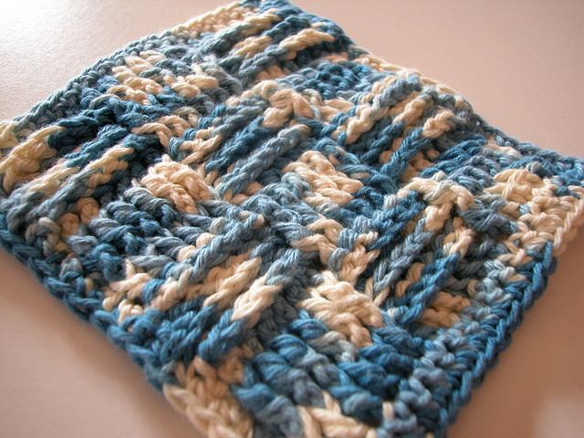 basketweave, basket weave, scrubby, dishcloth, washcloth, free crochet pattern, post stitches
