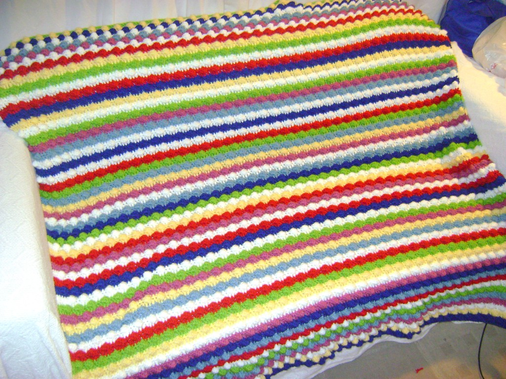 free crochet blanket pattern striped bobbles throw afghan