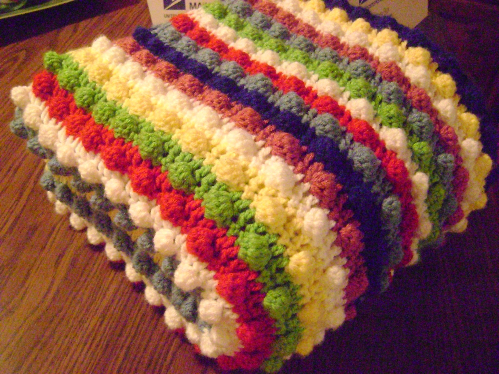 Free crochet pattern blackberry salad striped afghan throw blanket bobbles