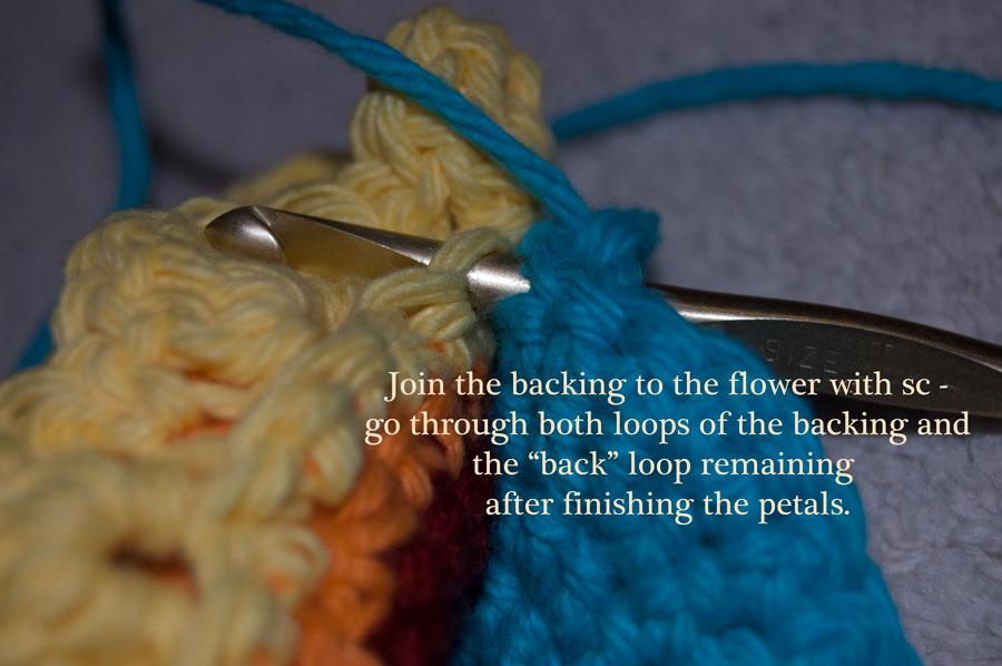 free crochet pattern rainbow flower scrubby dishcloth washcloth cleaning kitchen