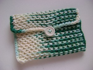 Knit Chinese Waves Pouch with Crochet Edging free knitting pattern bag free knitting pouch pattern moogly year in review