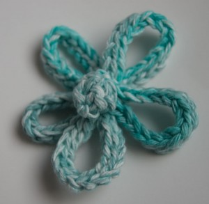 Blue five petal crochet flower