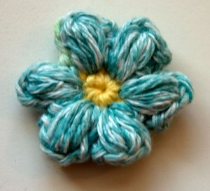 Blue and yellow Mollie crochet flower