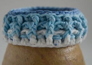 Blue and white crochet ribbed soft bracelet - bottom version
