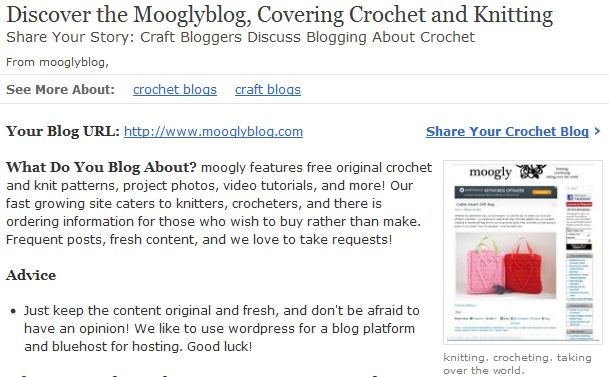 Mooglyblog Featured on About.com Crochet