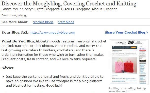 Mooglyblog Featured on About.com Crochet