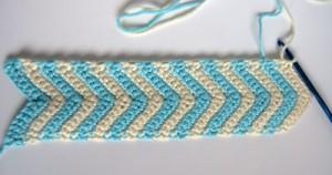 Aqua and ivory crochet chevron cuff in progress free pattern