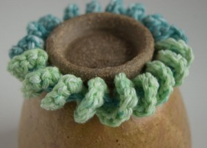 Green and blue chunky crochet cuff