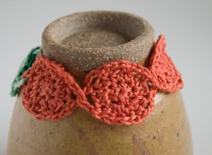 Red Lotus Flower crochet cuff