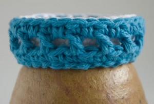 Blue and white two color crochet bangle