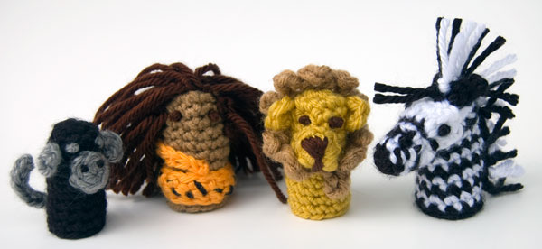 Jungle Finger Puppets Set - free crochet patterns - lion, zebra, monkey, wild man