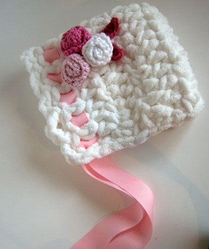 Crochet Baby Bonnet Pattern Free : Gallery For > Baby Bonnet Crochet Pattern