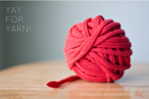 How to make tshirt yarn via Let Birds Fly blogspot
