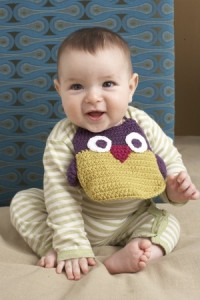 Owl Bib from Lion Brand, Free Crochet Pattern