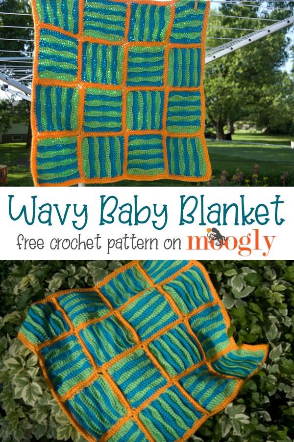 Wavy Baby Blanket - free crochet pattern on Mooglyblog.com
