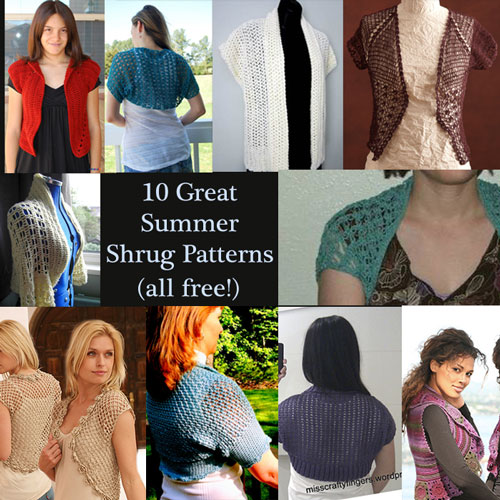 10 Great Summer Shrug Patterns - all free! on www.mooglyblog.com