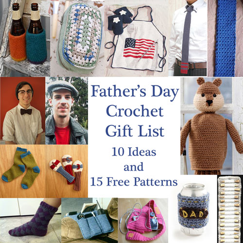 Free Crochet Patterns for Father's Day, 10 Ideas, 15 Free Patterns, beer, apron, dopp, tie, hat, golf, socks, remote control, running dads, moogly
