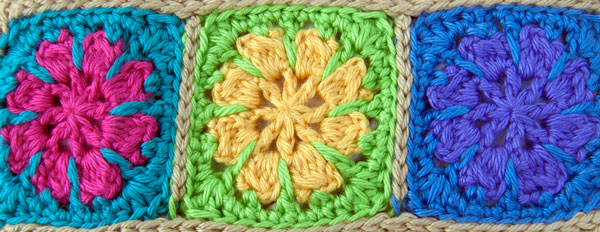 Riley Flower Square Motif free crochet pattern three inches