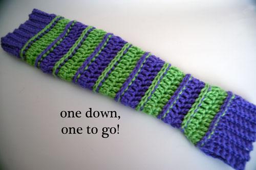 Sweet Striped Crochet Arm Warmers free pattern