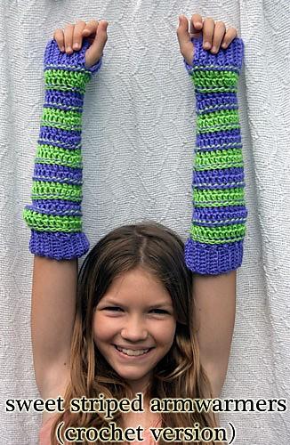 Sweet Striped Arm Warmers in Crochet - Moogly