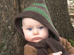 free knitting pattern knit baby hat scarf hood pixie scoodie