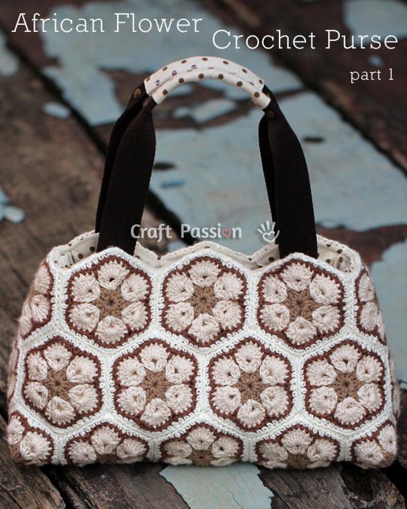 african flower crochet purse free crochet pattern craft bag tote lined tutorial hexagons