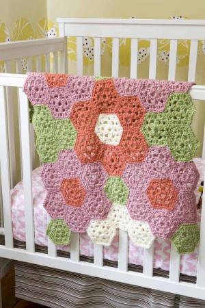 garden coverlet free crochet pattern blanket afghan hexagon flowers