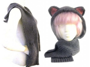 knitty hood scarf pockets free knit pattern knitting cat ears fox animal hat