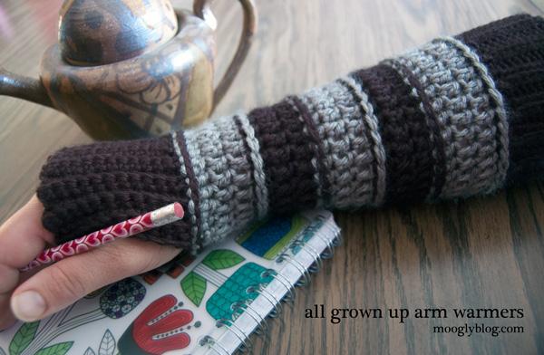 All Grown Up Arm Warmers - Free Crochet Pattern on Moogly