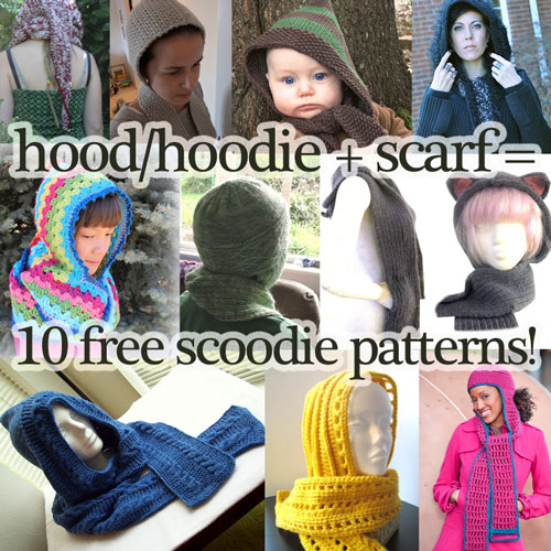 One Skein Knitting Pattern : Hood / Hat + Scarf = 10 Free Scoodie Patterns