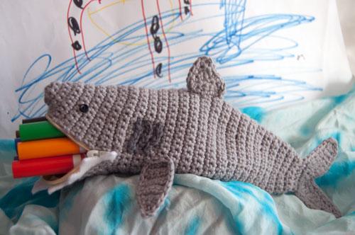 Free Crochet Pattern Shark Time Pouch By Moogly