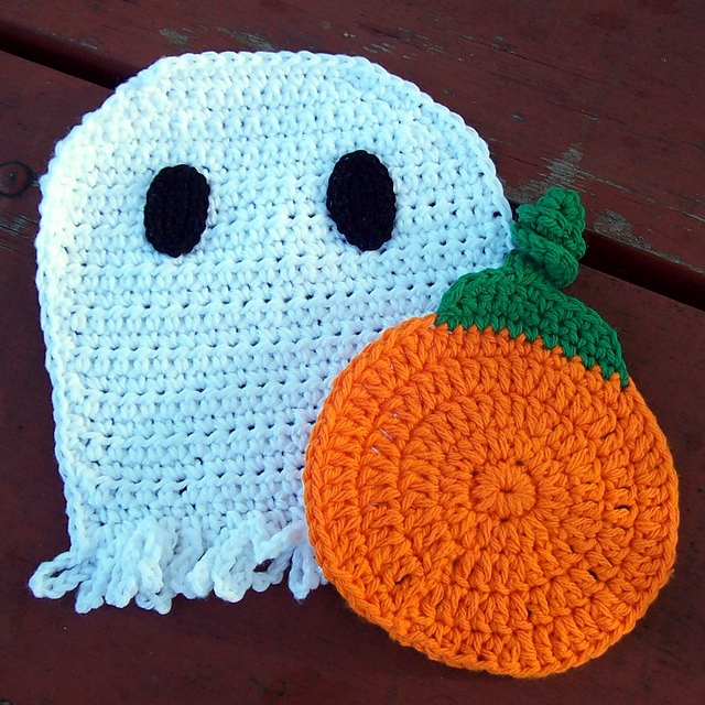 practical too trick or treat halloween discloths free crochet halloween decorations dishcloths ghost pumpkin patterns
