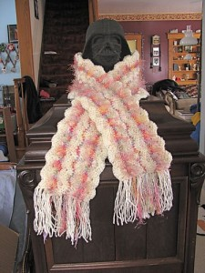 bacon scarf free crochet pattern novelry eyelash yarn