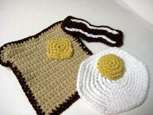 free crochet patterns breakfast eggs bacon toast washcloth play food
