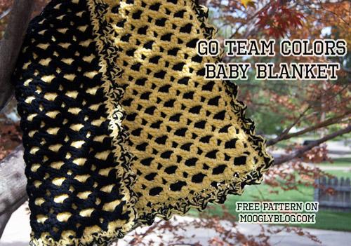 Free Pattern Go Team Colors Baby Blanket