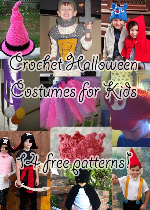 free crochet halloween costumes patterns children kids superhero princess pirate witch gnome