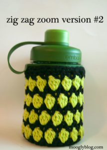 zig zag zoom water bottle cozy free crochet pattern sizes versions options stripes