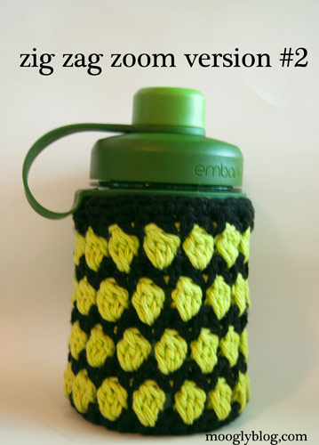 zig zag zoom water bottle cozy free crochet pattern sizes versions options stripes