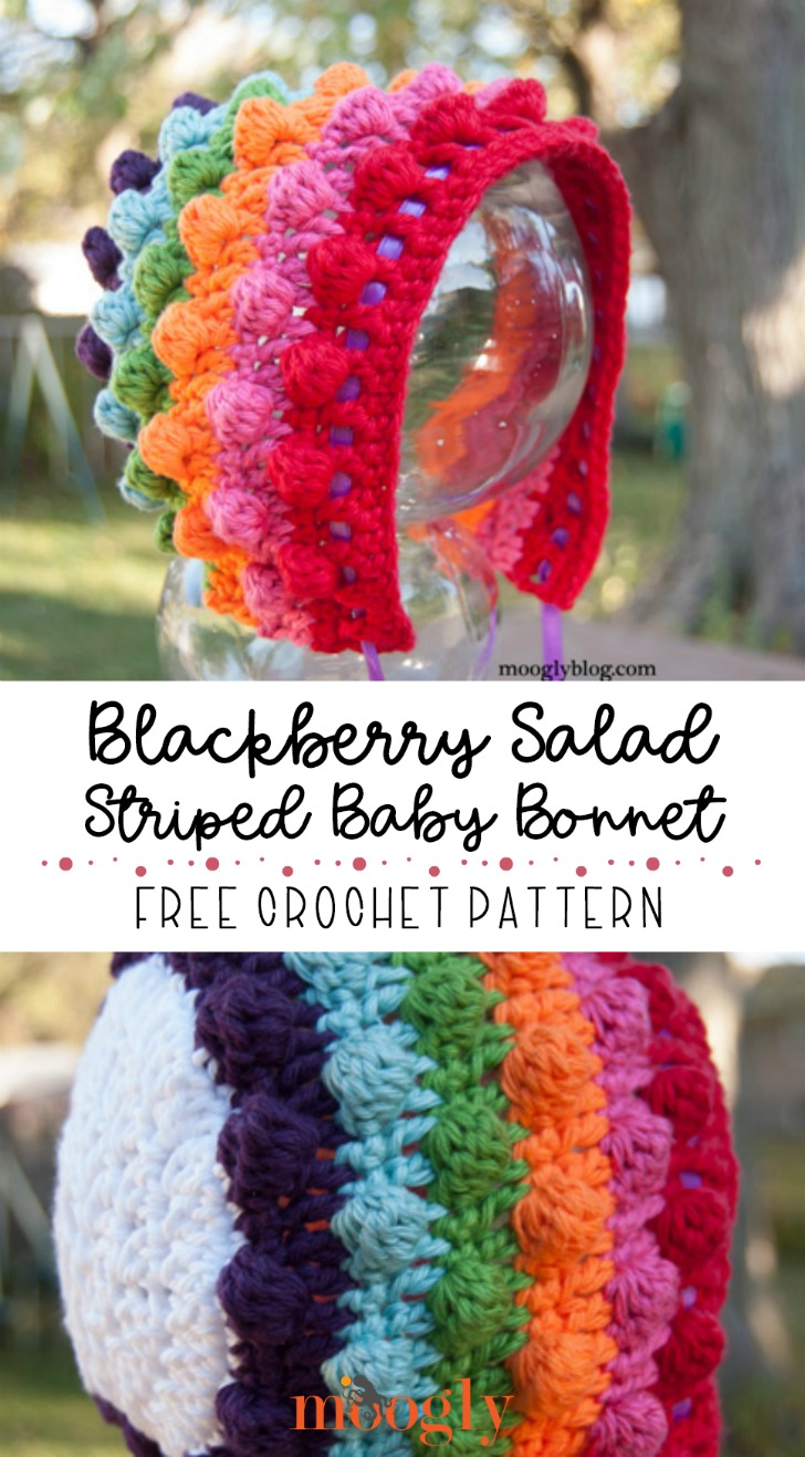 Blackberry Salad Striped Baby Bonnet - free crochet pattern (with matching blanket pattern!) on Moogly!