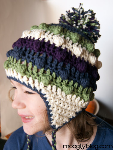 Free Pattern Bobble Poof Crochet Earflap Hat