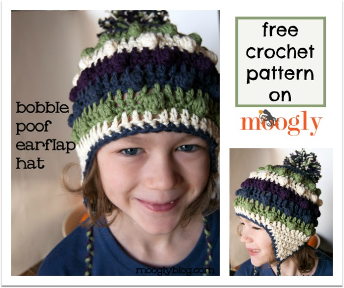 Bobble Poof Earflap Hat - free #crochet pattern for kids and adults on Mooglyblog.com!