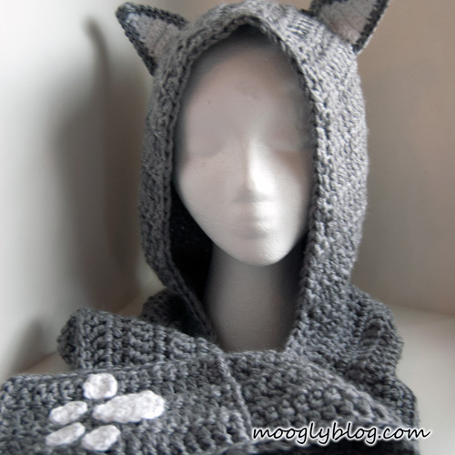 Free Crochet Pattern For Hooded Scarf With Ears : Free Pattern: Cuddly Cat Crochet Scoodie