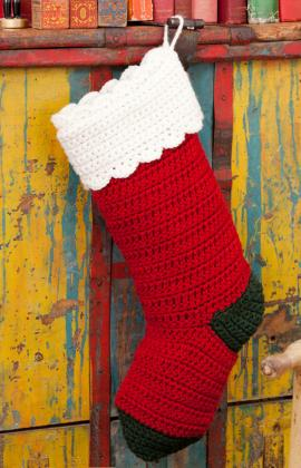 Crochet Patterns For Xmas Stockings : Quick and Easy Crochet Christmas Stocking on Red Heart - part of a ...