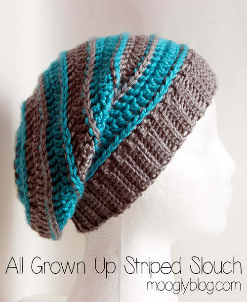 Free Pattern All Grown Up Striped Slouch Hat