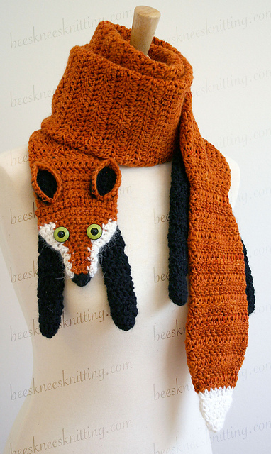Free Crochet Fox Scarf Pattern Pictures to pin on Pinterest