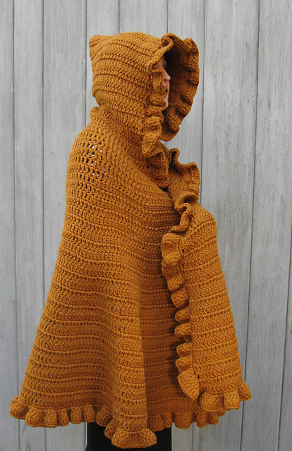 Crochet Patterns Capes : Ruffleed Shawl/Cape (and more great free ruffle crochet patterns!) via ...