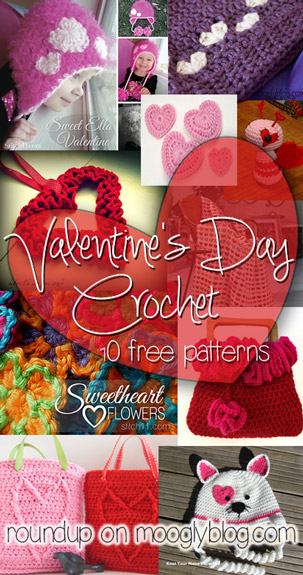 Handmade Love with Valentine's Day Crochet! 10 free patterns to <3 #crochet on mooglyblog.com
