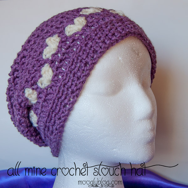 free crochet slouch hat pattern all mine crochet slouch hat valentines ...