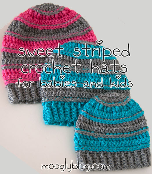Crochet Patterns Free Childrens Hats : Free Pattern: Sweet Striped Crochet Hat - for Babies and Kids!
