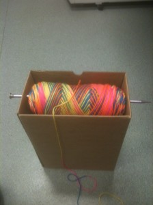 Box + Knitting Needle = Tangle free yarn holder! Brilliant! #crochet on pinterest